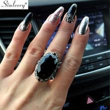 SINLEERY винтажные большие черные овальные каменные кольца для женщин Размер 6 7 8 9 10 античные серебряные ювелирные изделия Anel Jz516 SSC