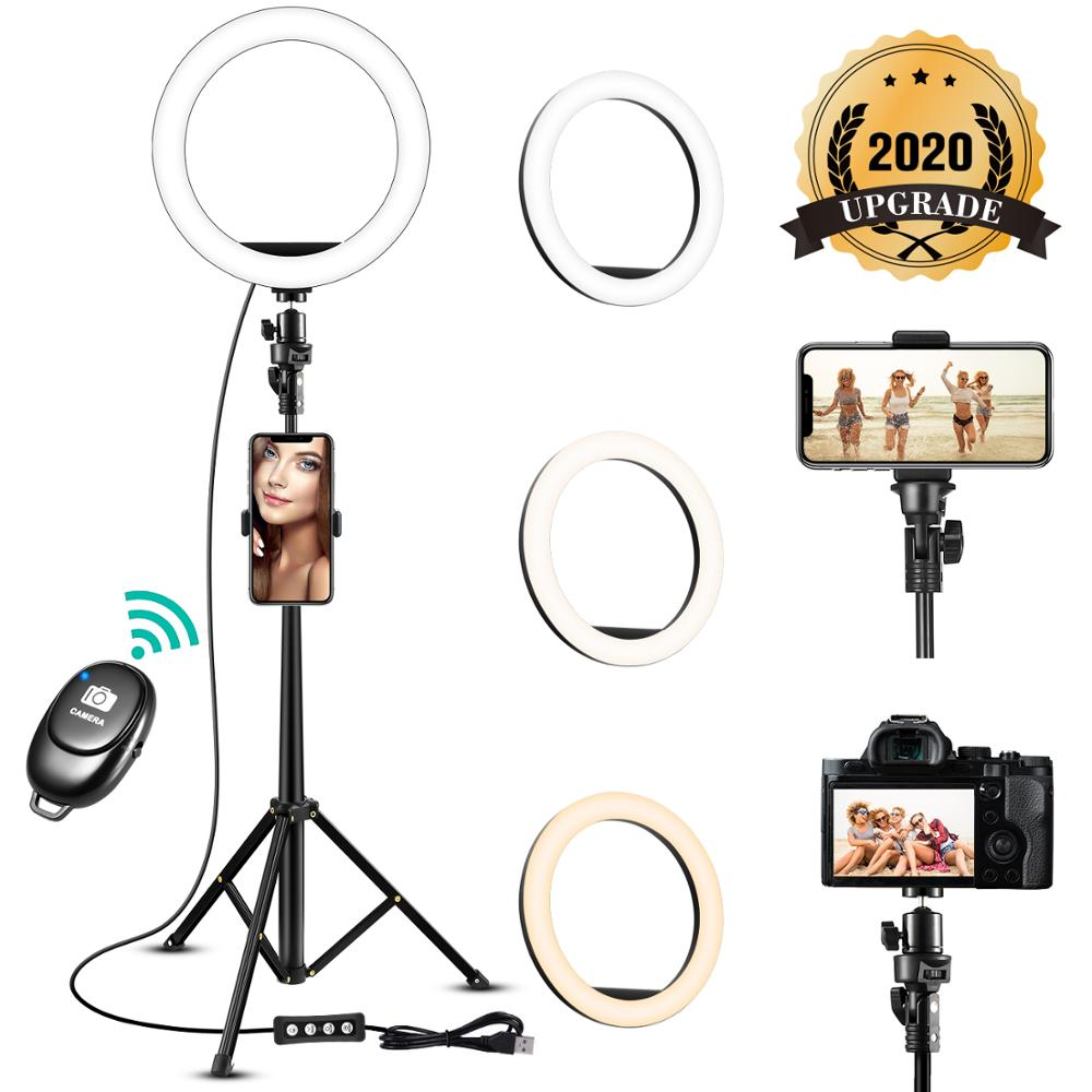LED Selfie Ring Light 8 inch Metal Dimmable Camera Phone Ring Lamp With Stand Tripods For Makeup Video Live Studio Youtube GT image