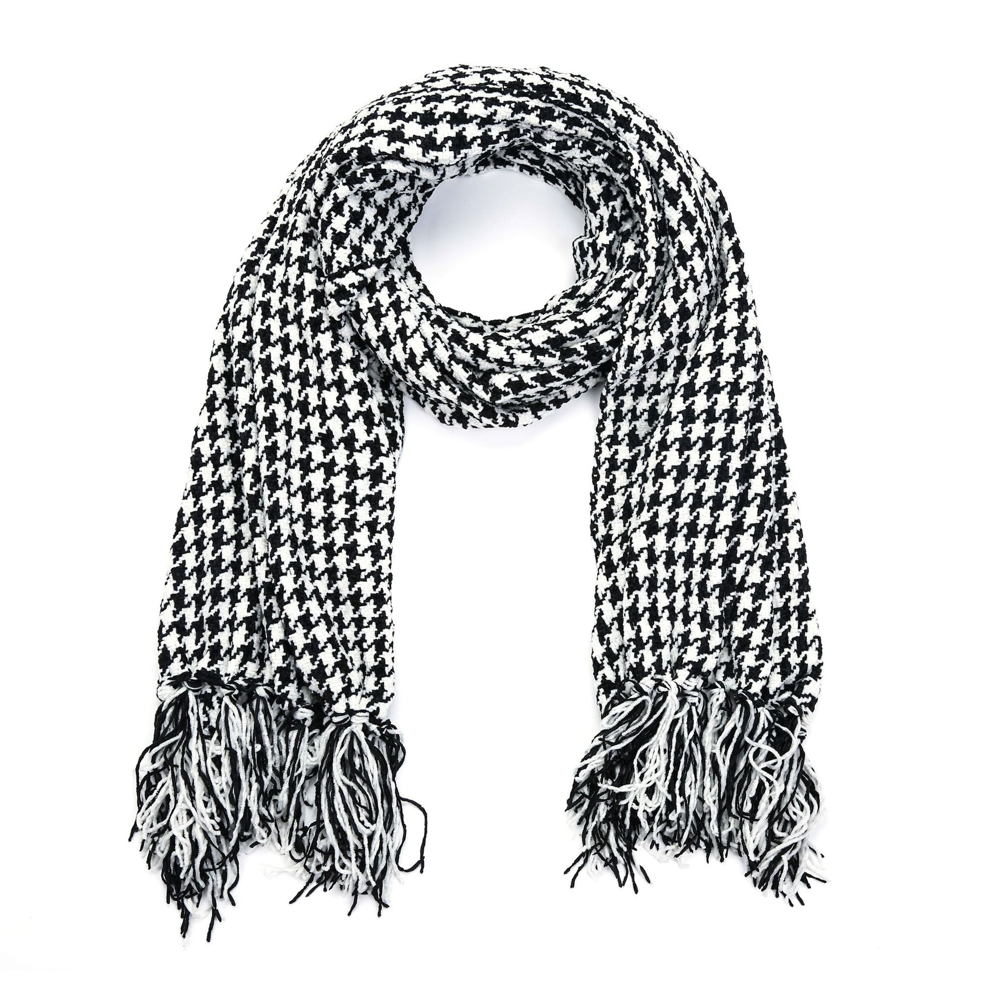 Black And White Knit Thousands Of Birds Wool Europe And America Broom Shall Bearded Have Elasticity Winter Versatile Warm Scarf