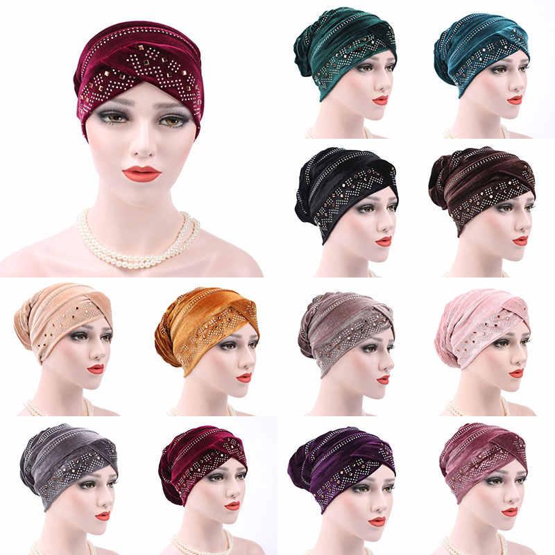 חדש נשים Hijabs רך קטיפה ריינסטון טורבן כובע כפה מתקפל מוסלמי צעיף כובע מוצק צבע נקבה גבירותיי ראש כובע כיסוי ראש