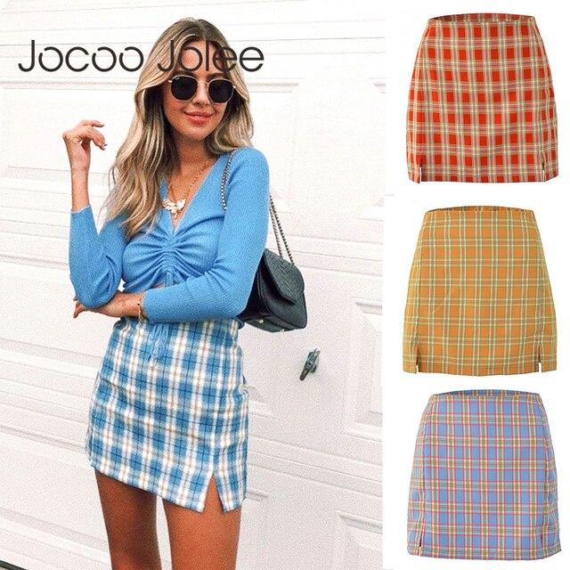 Jocoo Jolee Women Fashion Cotton Plaid Bodycon Skirt Spring Europe Style Split Elegant Chic Skirts High Waist Wild Bottom 1
