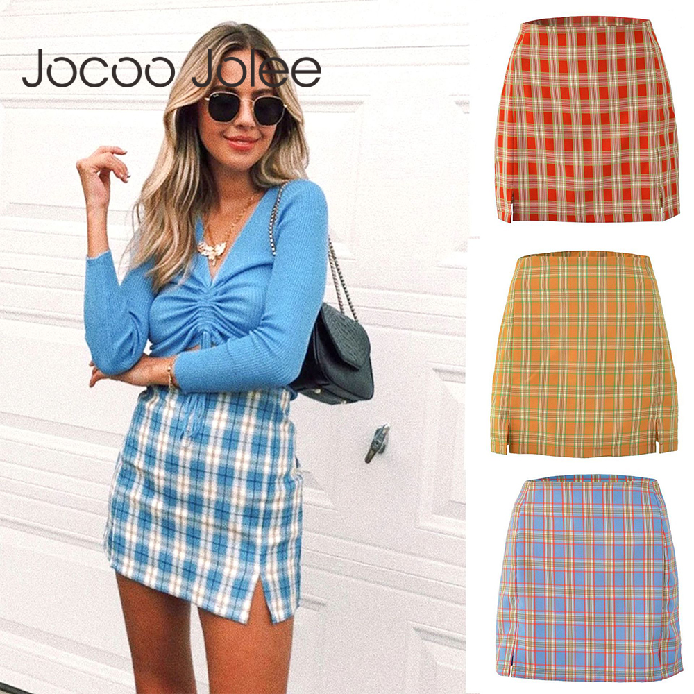 Jocoo Jolee Women Fashion Cotton Plaid Bodycon Skirt Spring Europe Style Split Elegant Chic Skirts High Waist Wild Bottom