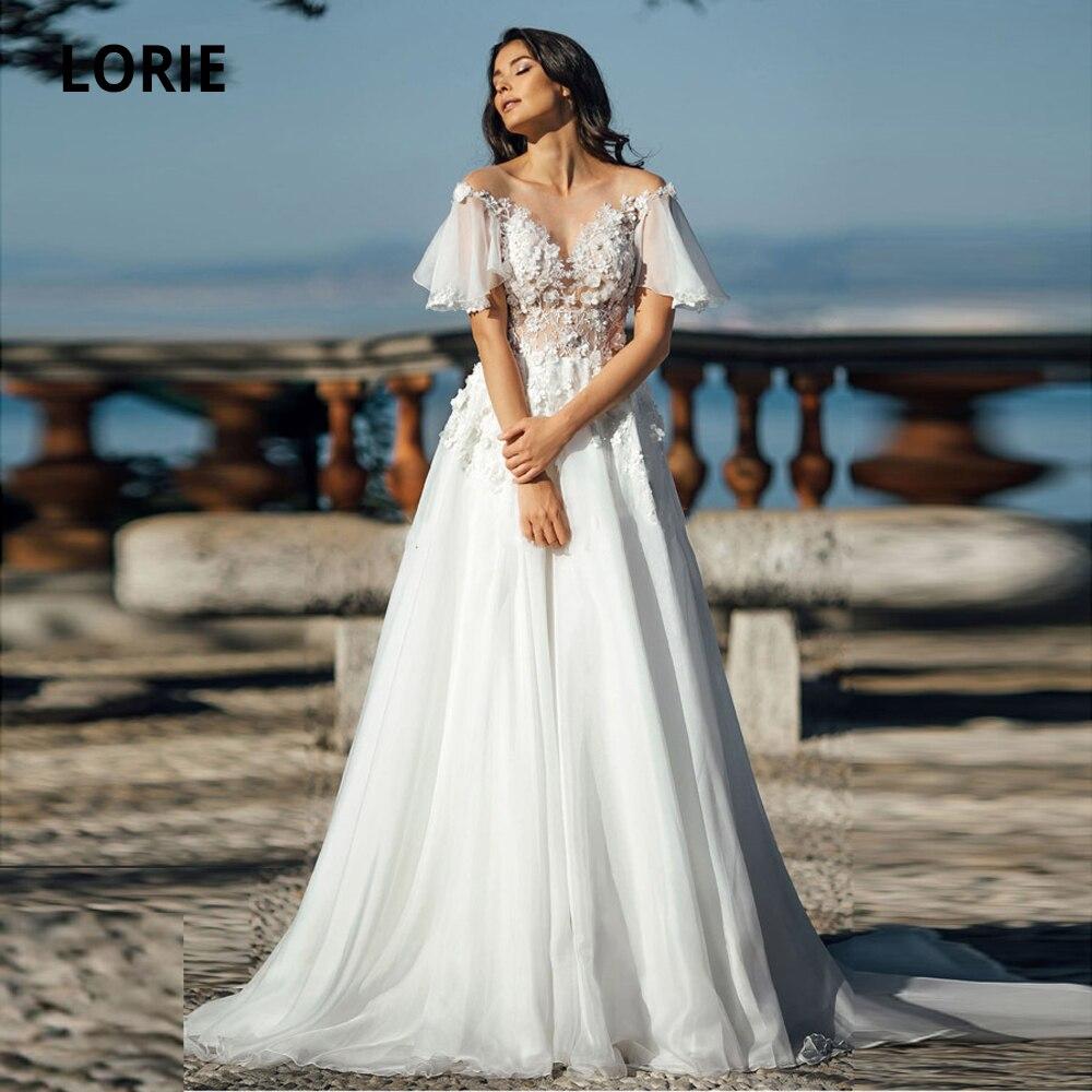 LORIE Chiffon Wedding Dresses Lace Appliqued Cap Sleeve Beach Bridal Gowns Illusion Boho Princess Wedding Party Gown Plus Size