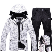 Толстый теплый лыжный комплект для мужчин и женщин, водонепроницаемая зимняя спортивная куртка для сноуборда, лыжные перчатки, комбинезон, ветрозащитный лыжный костюм