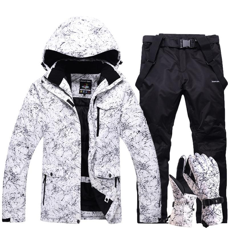 New Thick Warm Ski Set Men Women Waterproof Winter Outdoor Sports Snowboard Jacket Skiing Gloves Overalls Windproof Ski Suit