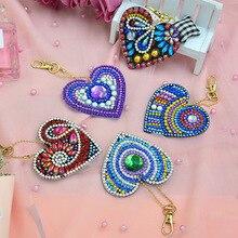 5PCS DIY Keychain Diamond Painting Heart Shape Handmade Key Chain Key Ring Women Bag Pendant Friend Gifts Art Craft Decoration mix wings key chain charms for diy handmade gifts keychain flying wing jewelry