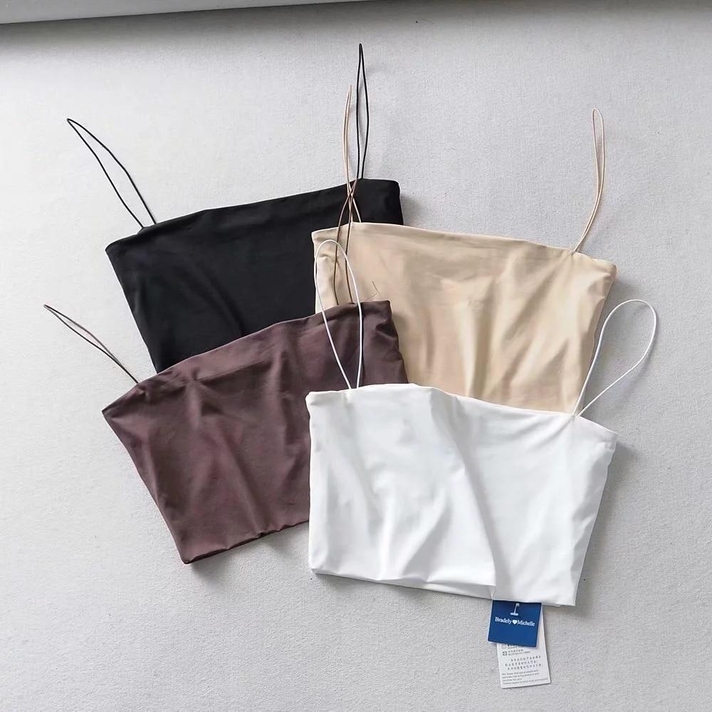 2020 Summer Women's Crop Top Sexy Elastic Cotton Camis sleeveless Short Tank Top Bar 1