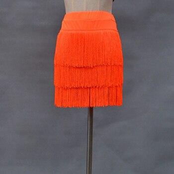 Women Latin Dance Dress Skirt Sexy Lady Three-layer Fringed Tassel Samba Tango Red Black Safety Pants