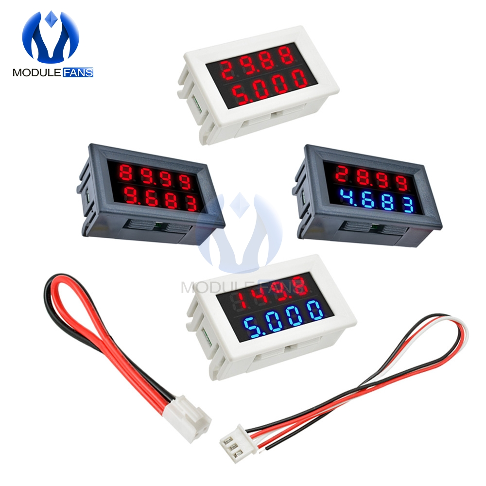 Red Blue Dual Digital Led Amp Display Dc Voltmeter Ammeter 4 Bit 5 Wires Dc 200v 10a Voltage Volt Current Meter Power Supply 4 Bit Digital Ledled Display Aliexpress