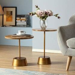 ماجي طاولة القهوة البلوط خشب متين نهاية الجدول بسيط مستدير الترفيه طاولة شاي أثاث صغير