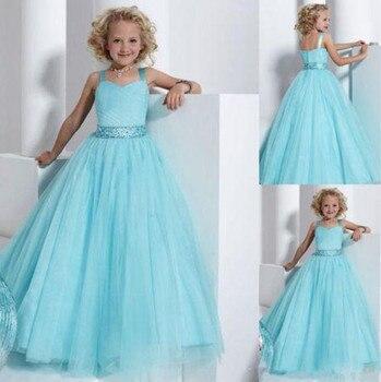 Sky Blue Tulle Flower Girl Dress with Belt Spaghetti Straps Backless Floor Length Girls Pageant Gowns Custom Made Formal Wears