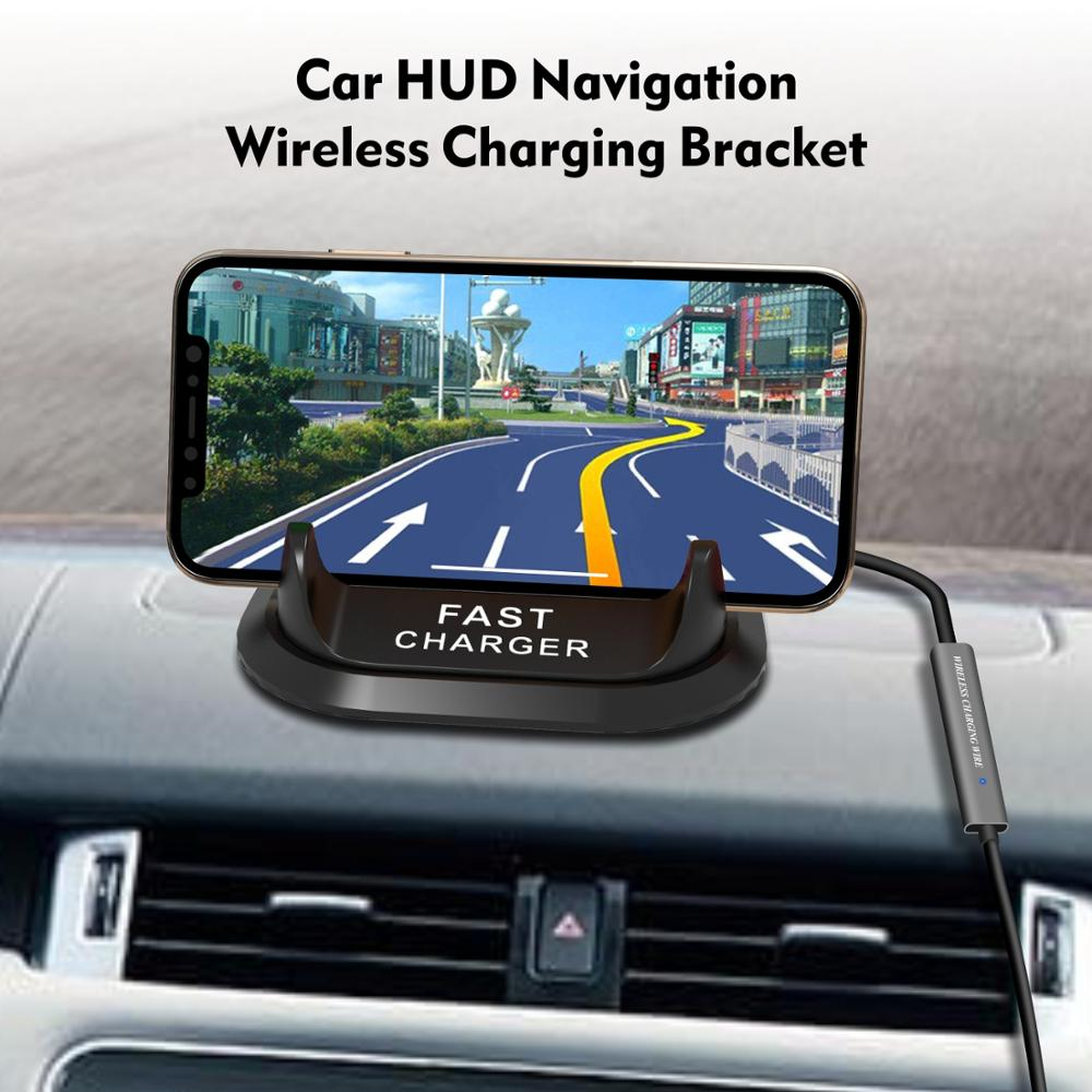 HUD Car Wireless Charger stand10W Quick for iPhone 11 Pro XR XS Huawei P30 Samsung note 10 Qi Charging Phone dash board Holder