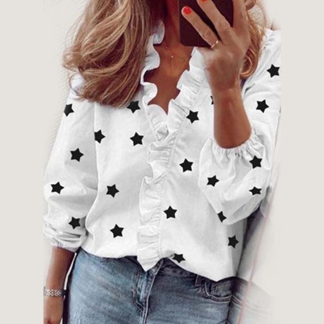 Star Printed Long Sleeve Ruffles Blouse Shirt 2020 New Fashion Female Clothing Casual Elegant White Blue Tops Plus Size S-3XL 1