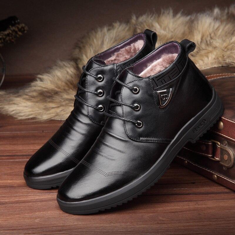 Warm Genuine Leather Men Winter Boots Ankle Boots Fashion Boot Shoes Men Casual Male Fur Snow Boots Zapatos De Hombre Rubber