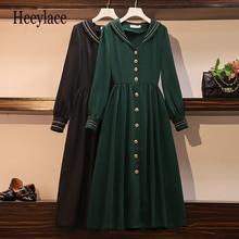 De talla grande mujer vintage marinero collar vestido verde para mujeres retro elegante manga larga dama enpire formal de mujer para oficina vestidos