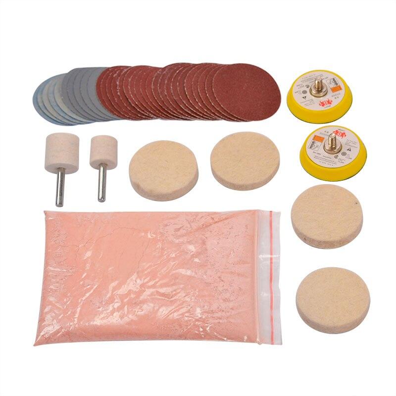 34pcs/Set Deep Scratch Remove Glass Polishing Kit 8 OZ Cerium Oxide+ Sanding Disc + Wool Polishing Pad For Windscreen Windows