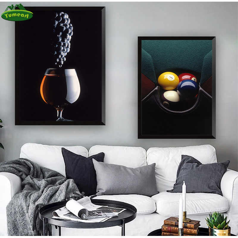Grape Wine Snooker Canvas Art Paintings Modern Fashion Prints Posters Wall Art Pictures for Restaurant Bar Home Kitchen Decor