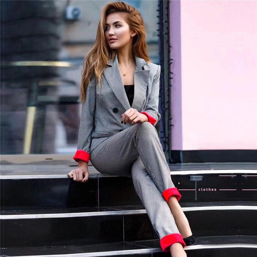 New Women's Pants Suits Double-breasted Plaid 2Piece-Sets Jacket blazer Work-Pant Costume Femme Autumn Plus Size Women Suits