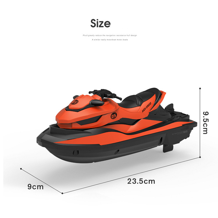 2.4G RC Boat Mini Electric Speedboat Bright Vehicle Model LED Motor USB Water Remote Control Toy Swim Baby Summer Gift 10km/h