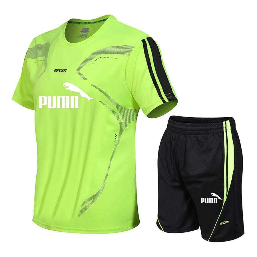 Brand men's sportswear suit short-sleeved sports shirt male running 2 piece suit football gym fitness man T-shirt + shorts set 2