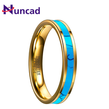 NUNACD 4MM Tungsten Carbide Ring Gold Inlaid Green Stone Party Rings Wedding Band Engagement Man's Jewelry Ring Comfort Fit