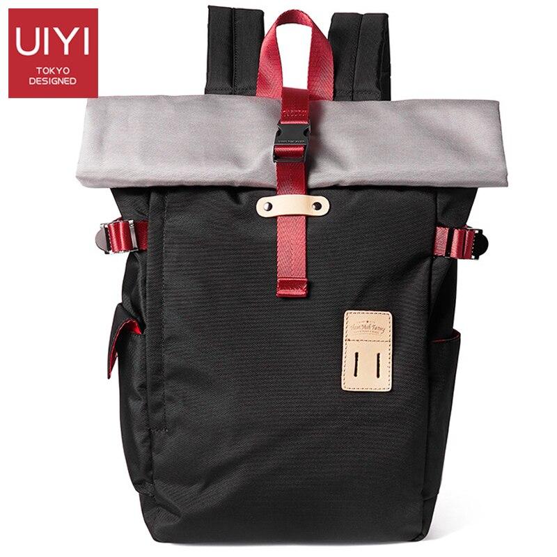 Japonais simple vintage sac à dos hommes 14 pouces pochette d'ordinateur homme contraste étudiant Bookbag sac à dos décontracté mode toile sac à dos