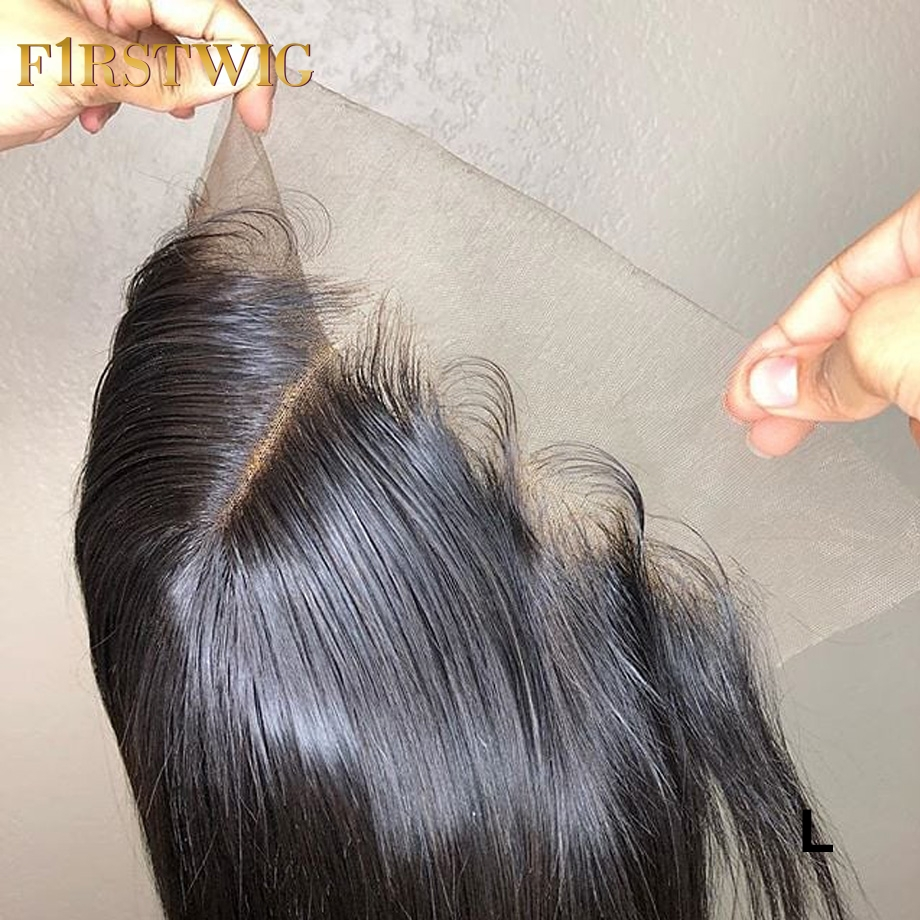 Brazilian 13x6 Transparent Swiss Lace Straight Frontal Closure Pre Plucked Short Long Human Remy Hair For Black Women Firstwig