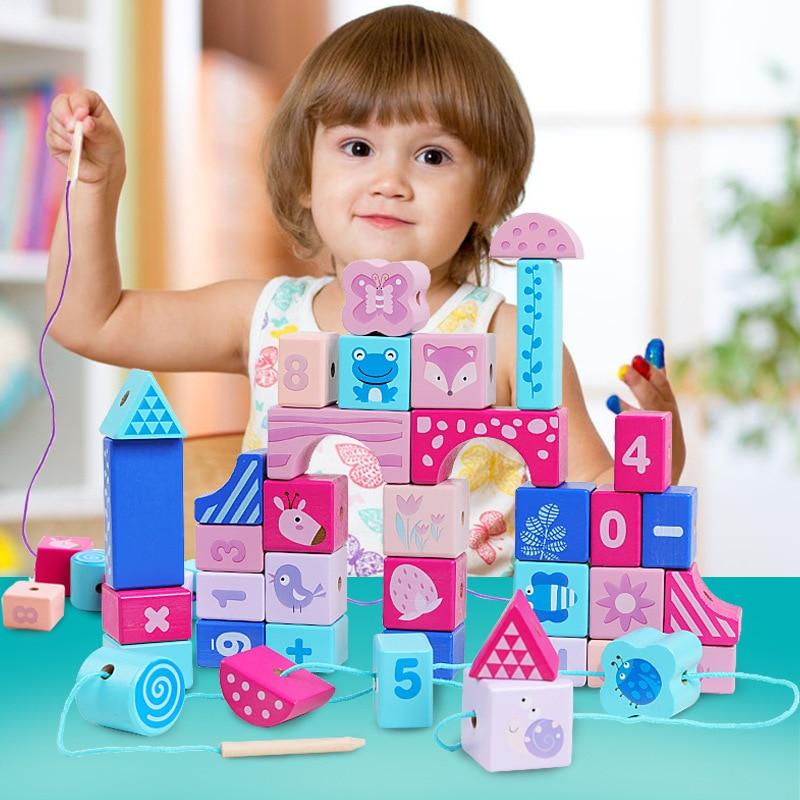 Enfants petite enfance éducatif forêt Animal perlé Bracelet blocs de construction jouet bois maternelle école primaire fille A