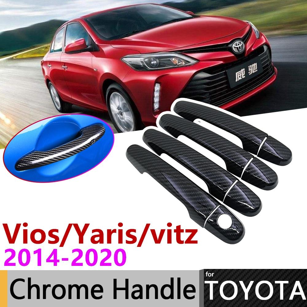 Black Carbon Fiber Exterior Door Handle Cover For Toyota Vios Yaris Vitz XP150 2014~2020 Accessories Stickers Trim Set Chrome