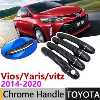 Couvercle de poignée de porte extérieur en Fiber de carbone noir pour Toyota Vios Yaris Vitz XP150 2014 ~ 2020 2015 2016 2017 2018 2019 accessoires autocollants ensemble de garniture Chrome