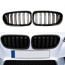 2010 2016 لسيارة BMW سيدان F10 F11 520i 530i 535i لمعان أسود أمامي الكلى التوأم زعانف مزدوجة خطوط مزدوجة شريحة الوفير جريل مصبغة