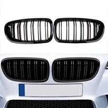2010 2016 para bmw sedan f10 f11 520i 530i 535i, quilhas duplas frontal e preta grade do amortecedor do slat