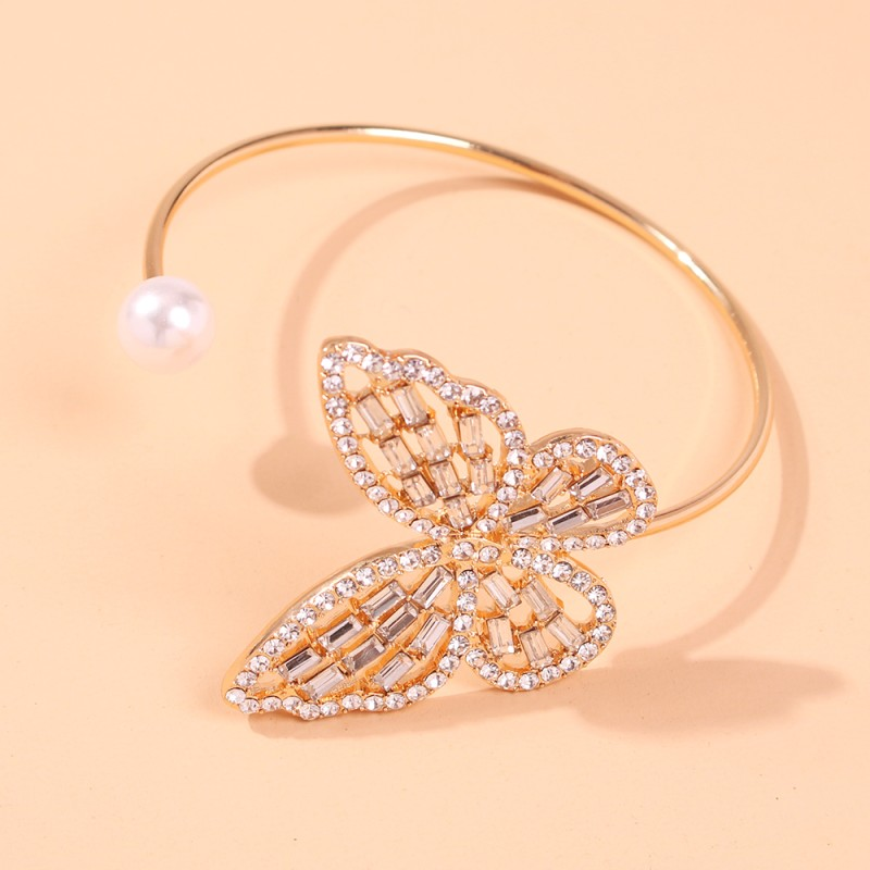Gold-color Butterfly Bracelets Crystal Rhinestone Wide Wrap Arm Bracelet Cuff Imitation Pearl Opening Bangles New Jewelry B10441