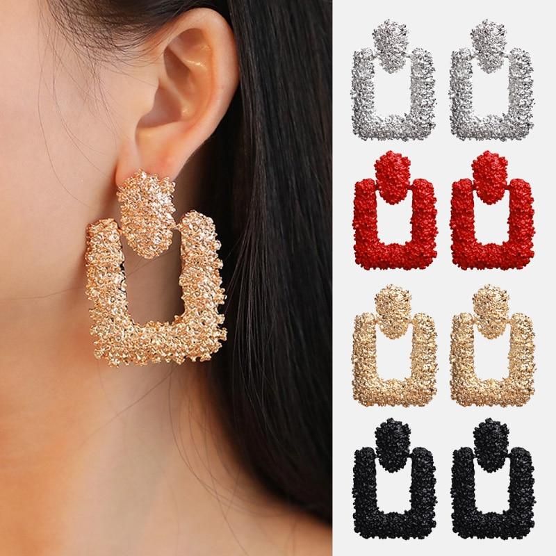 Vintage Big Drop Earrings For Women Geometric Metal Earing Hanging Earrings Female 2019 New Hot Fashion Modern Party Jewelry