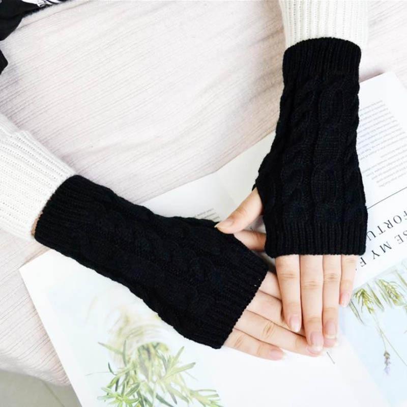 Calymel Spring Autumn Sleeve Women Wool Knitted Arm Warmers Winter Fashion Sleeves Gloves Button Knitte Mitten Long Gloves