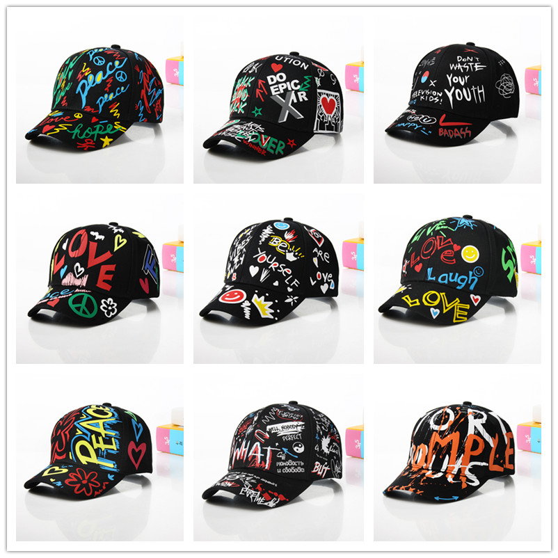 Fashion Cotton Graffiti Boy Girl Baseball Caps Children Printed Snapback Hat Kids Popular Hip Hop Hat Cap Hot Sell