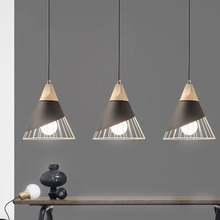 Nordic Modern Iron Real Wood Pendant Light, E27 Restaurant Bar Pendant lamp, Cafe Creative Simple Single Solid Wood Lamp wood ball creative pendant light mediterranean style restaurant cafe bar hanging lamp modern wood lamp for bedroom balcony aisle