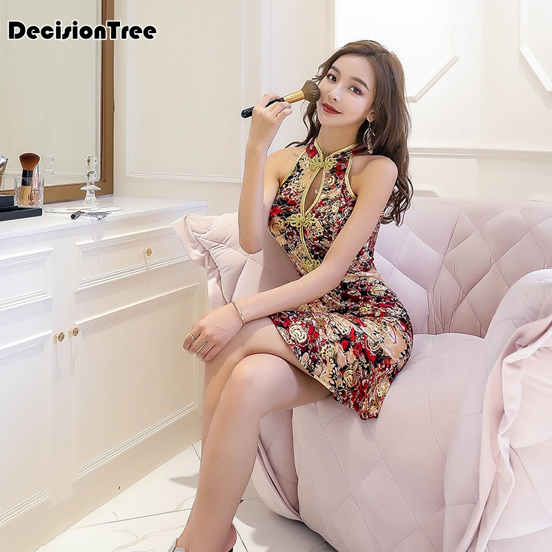 2019 Chinese Dress Qipao Sexy Modern Floral Print Chain Print Women Vestidos Sexys Nightclub Dress Hollow Out Bodycon Dress