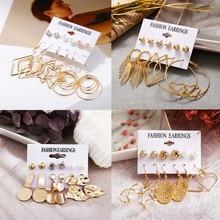 6PCS/Set Irregular Geometric Earring Set For Women Girl Bohemian Gold Leaf Circle Stud Earrings Fashion Wedding Jewelry 2019 New