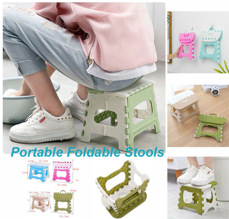 New 6 Colors Plastic Portable Folding Stool Small Chair Super Load-Bearing For Adults Kids Home Dining Room Living Chair Ottoman