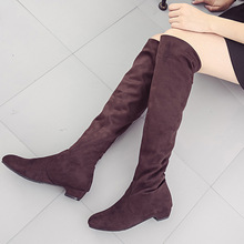 fashion women boots embroidery star suede knee high boots ladies square med heels chaussure femme ladies shoes spring style Women boot 2019 Sexy Party Boots Fashion Suede Leather Shoes Women Over Knee Heels Boots Stretch Flock Winter High Boots Z195