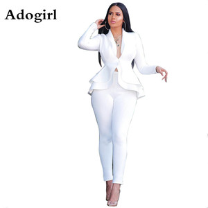 Image 1 - 冬の女性のセットビジネストラックスーツフルスリーブフリルブレザー + 鉛筆のズボンスーツ 2 点セットオフィスの女性衣装
