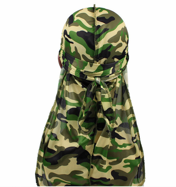 1PC Print Men's Silky Durags Turban Valentines Gift Headband Fashion Camo Free Size Headwear Elastic Comfortable Soft Adjustable 8