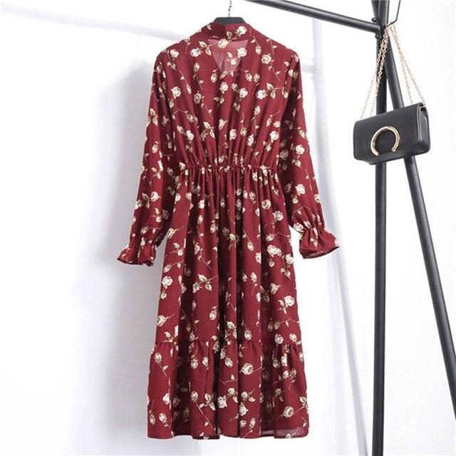 Женское шифоновое платье в горошек, платье с воротником-стойкой и длинным рукавом, с цветочным принтом, лето 2020 6
