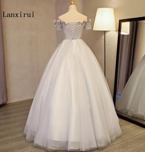 Image 3 - Женское Пышное Платье Lanxirui, серое бальное платье ручной работы с открытыми плечами и цветами, для зимы