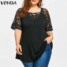VONDA Pregnancy Blouses And Tops Summer Sexy Lace Hollow Out Solid Color Shirts Femme Bohemian Maternity Blusas Loose Blouse(China)