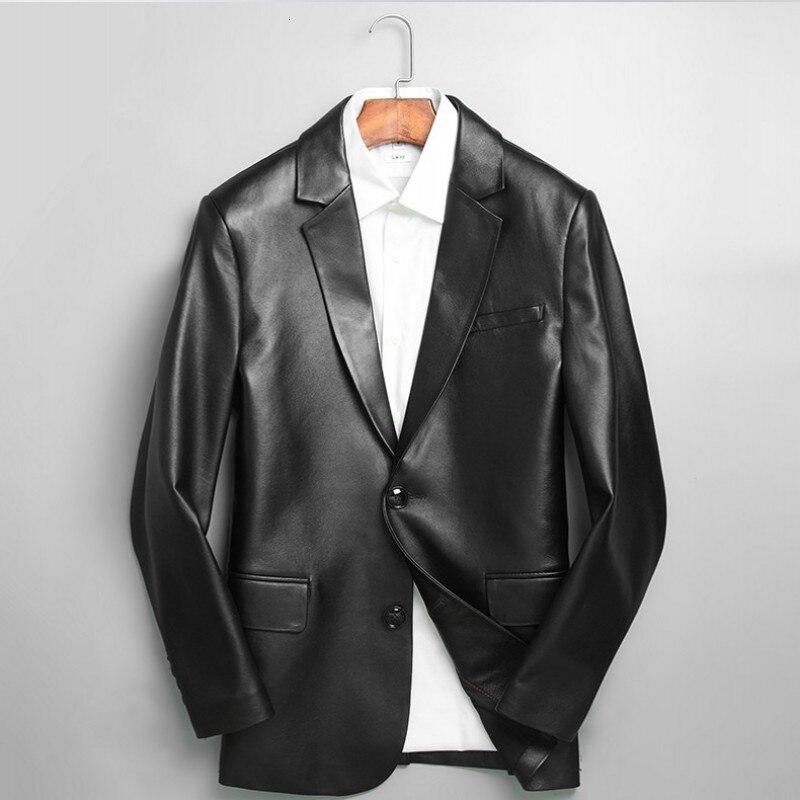 Брендовый черный блейзер из натуральной кожи, мужской деловой осенний тонкий пиджак из овчины размера плюс 5XL, модный пиджак с длинным рукавом - Цвет: black