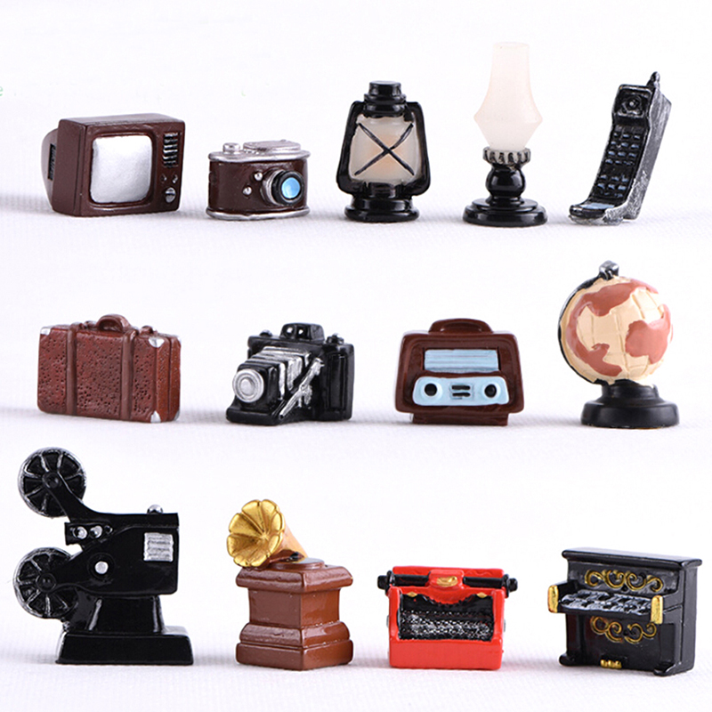 Baby DIY Toy Lamp Oil Lamp Camera TV Piano For Doll House Decor Dollhouse Miniature Retro Simulation Furniture Model Toys