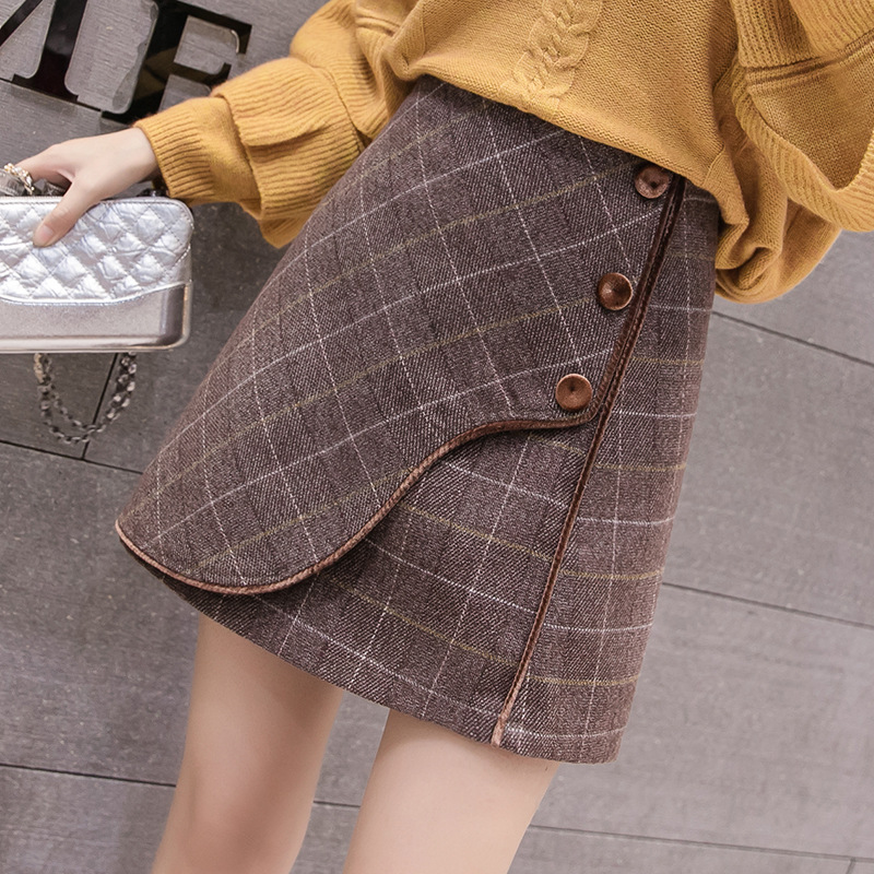 2019 Autumn And Winter New Style Korean-style Slim Fit Sheath Slimming High-waisted A- Line Woolen Plaid Skirt