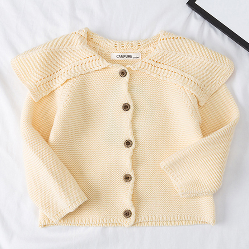 Baby Girls Cardigan 0-3 Years Old Baby Sweater Autumn Winter Lotus Leaf Collar Solid Color Children's Sweater Kids Baby Cardigan 4